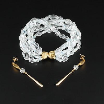 Beaded Topaz Torsade Bracelet and Dangle Earrings Set