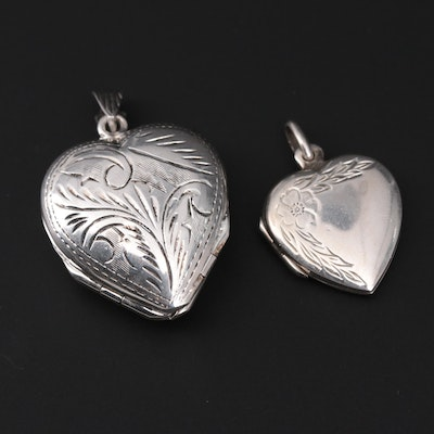 Sterling Silver Heart Picture Locket Pendants Featuring Multi-Pictures