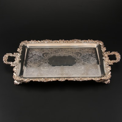 "Wilcox ""English Scroll"" Silver Plate Footed Waiter Tray, Mid-Century"