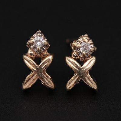 "10K Yellow Gold Diamond and ""X"" Earrings"