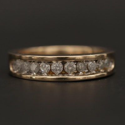 10K Yellow Gold Diamond Channel Ring