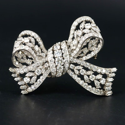 Boucheron Platinum 13.63 CTW Diamond Bow Brooch