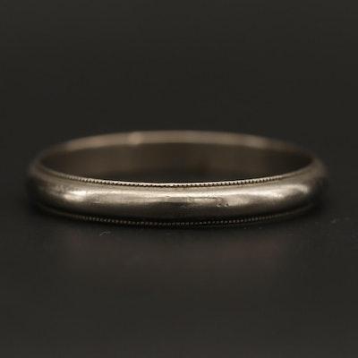 10K White Gold Ring with Milgrain Trim