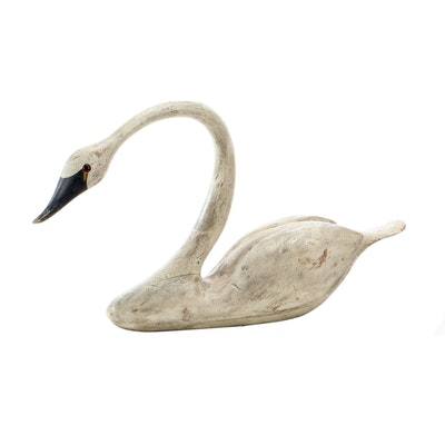 American Folk Art Hand Carved and Painted Swan Decoy