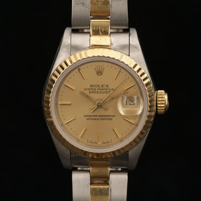 Vintage Rolex Datejust 18K Gold and Stainless Steel Automatic Wristwatch, 1987