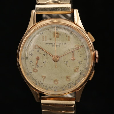 Vintage Baume & Mercier 18K Rose Gold Stem Wind Chronograph Wristwatch