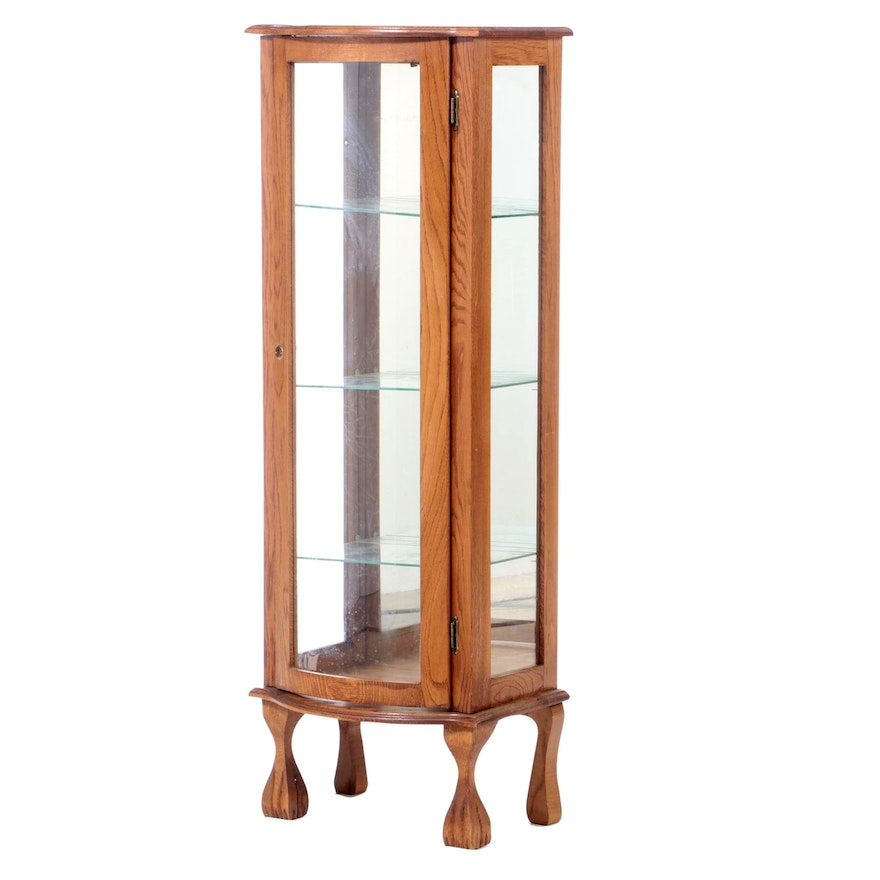 Chippendale Style Oak Illuminated Curio Cabinet, Late 20th Century