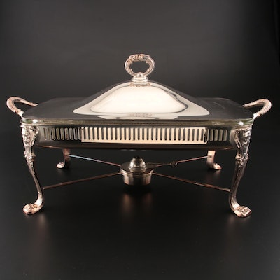 Bristol Silver Plate Chafing Dish on Warming Stand with Pyrex Dish