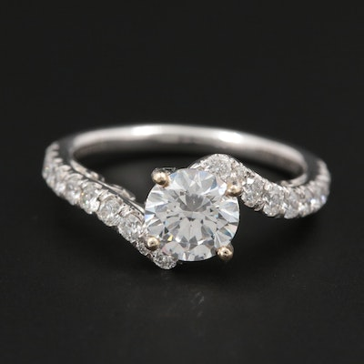 18K White Gold Diamond and Cubic Zirconia Semi-Mount Bypass Ring