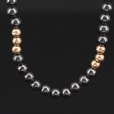 14K Yellow Gold Hematite Necklace
