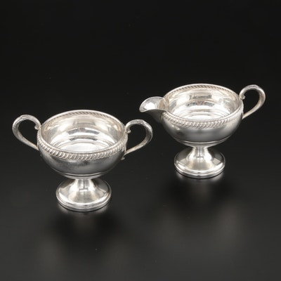 Fisher Weighted Sterling Presentational Creamer and Sugar Bowl, Engraved 1947