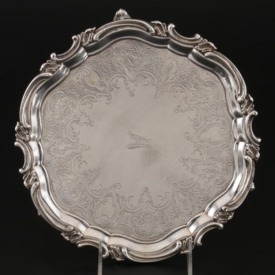 Padley, Parkin & Co. of Sheffield Sterling Silver Salver with Heraldic Crest
