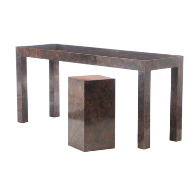 Faux Marble Veneer Table and Pedestal Display Stand, Late 20th Century