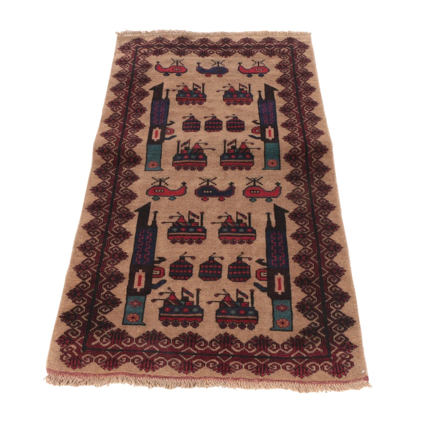 3'0 x 5'6 Hand-Knotted Afghani Wool War Rug