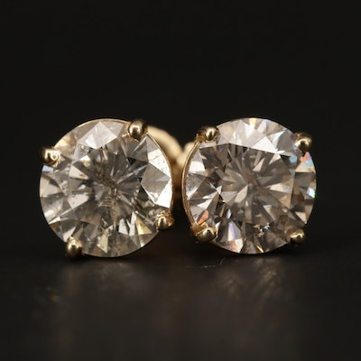 14K Yellow Gold 3.20 CTW Diamond Stud Earrings