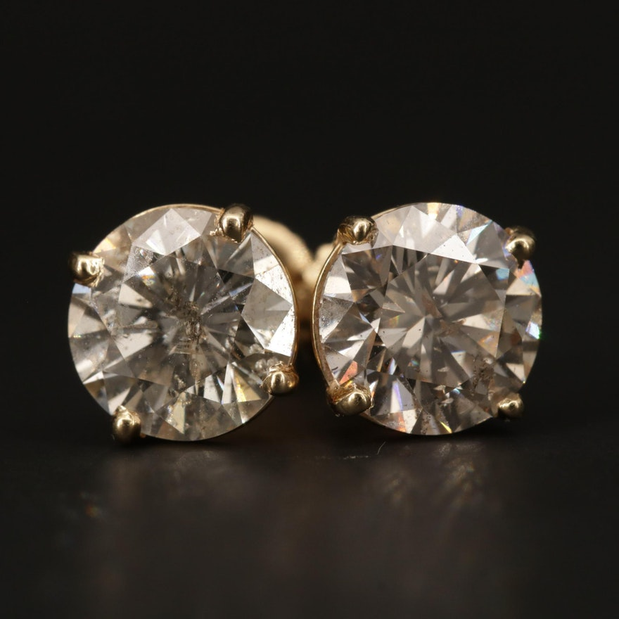 14K Yellow Gold 3.20 CTW Diamond Stud Earrings
