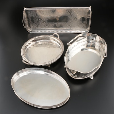 Collection of Silver Plate Gallery Trays