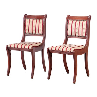 Stratton Cherry Finish Upholstered Parlor Chairs, Late 20th Century
