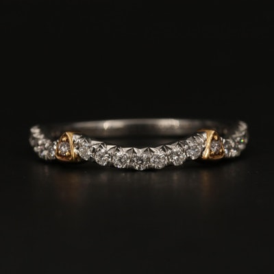 18K White Gold Diamond Band With 18K Yellow Gold Accents