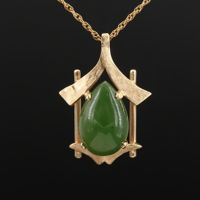 Gloria Bass 14K Yellow Gold Nephrite Pendant Necklace