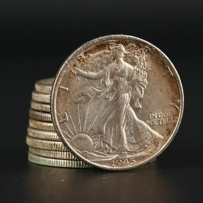Ten Walking Liberty Silver Half Dollars Ranging from 1941-1946