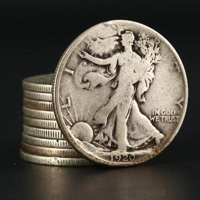Ten Walking Liberty Silver Half Dollars Ranging from 1920-1929