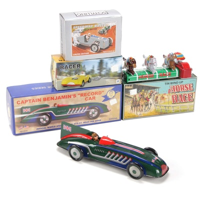 Schylling Tin Toy Race Cars and Horse Race