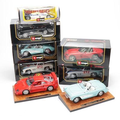 Bburago 1/18 Diecast Vehicles Including Mercedes and Ferrari, Contemporary