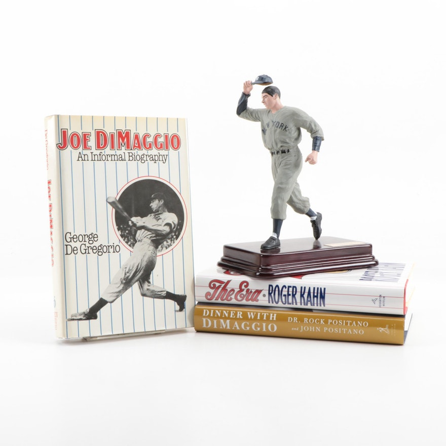 "Joe DiMaggio ""Joltin Joe"" Hartland Statue with Hardcover Baseball Books"