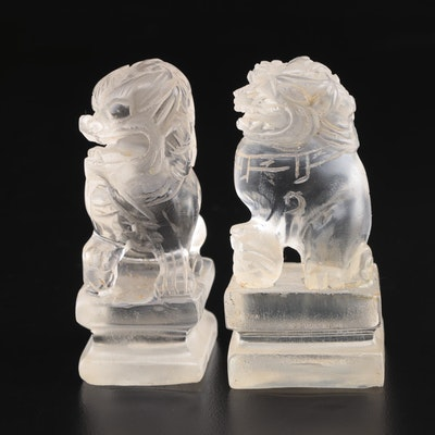 Chinese Etched Glass Guardian Lion Figurines, Vintage