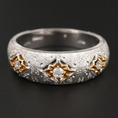 18K White Gold Diamond Ring with Yellow Gold and Textured Accents