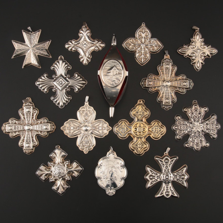"Reed & Barton ""Christmas Cross"" Ornaments with other Sterling Ornaments"