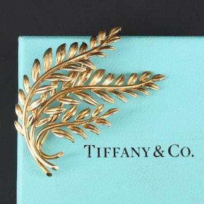 Vintage Tiffany & Co 18K Yellow Gold Leaf Motif Brooch with Box