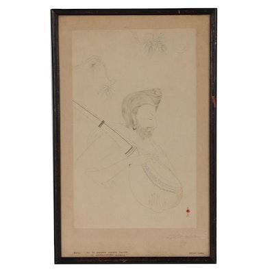 "Kavuta Ananda Mohan Sastri Watercolor Painting ""Music"", Early 20th Century"