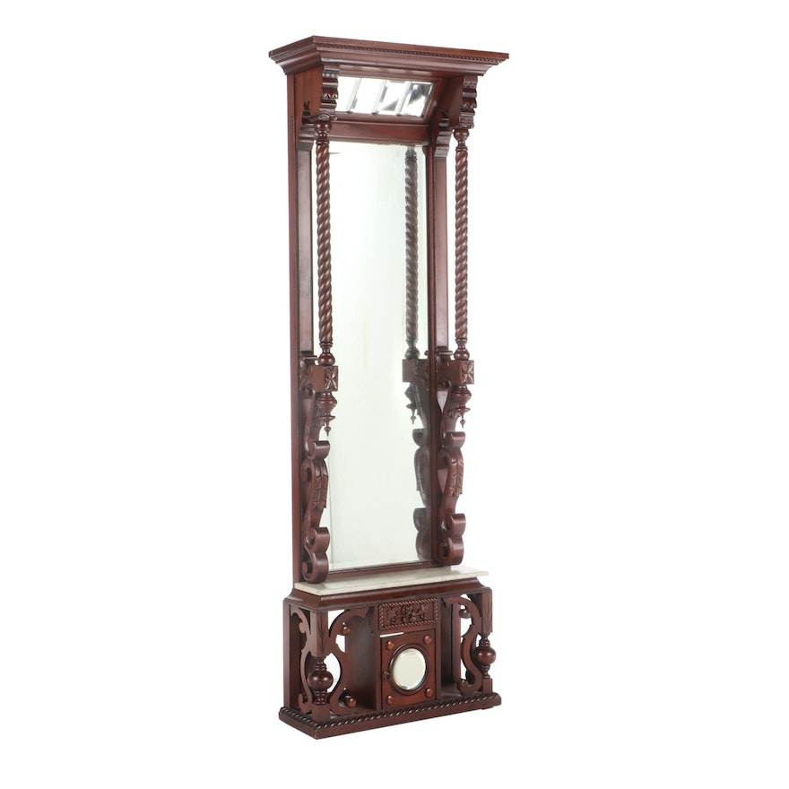 Late Victorian Mahogany-Stained and White Marble Pier Mirror