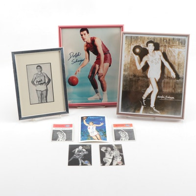Dolph Schayes Basketball Collectibles Including Signed Photo Print and Cards