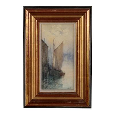 John Alfred Cook Watercolor Painting of Harbor Scene