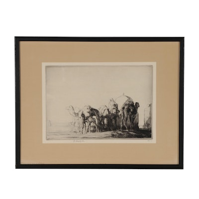 """Edmund Blampied Drypoint Etching """"Camels at a Well"""", circa 1928"""