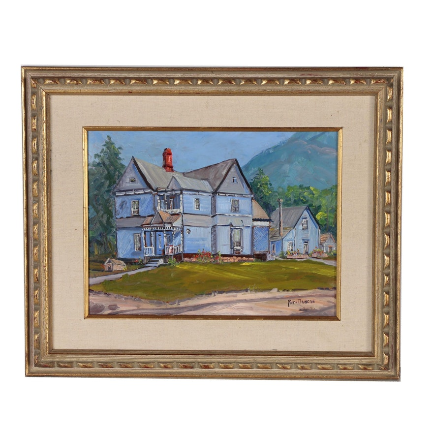 Ruth Duncan Oil Painting of a Blue House