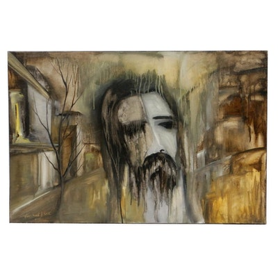 "Farshad Lanjani Oil Painting ""Jesus,"" 2015"