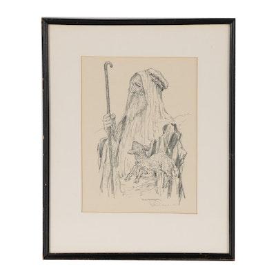 Paul Ashbrook Lithograph of Shepherd and Lamb