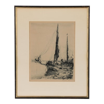 Pál Fried Drypoint Etching of Harbor with Sailboats