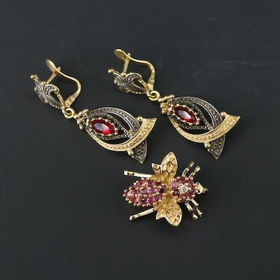 Sterling Earrings and Converter Brooch Featuring Ruby, Glass and Cubic Zirconia