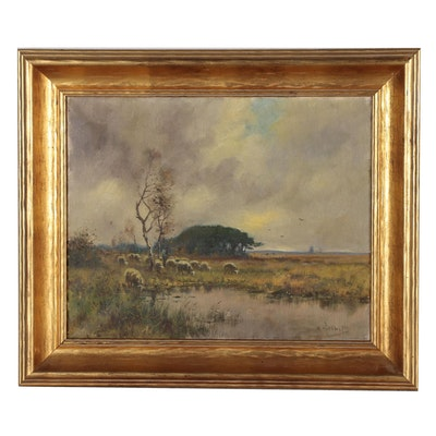 Dutch Style Pastoral Landscape Oil Painting, Mid 20th Century