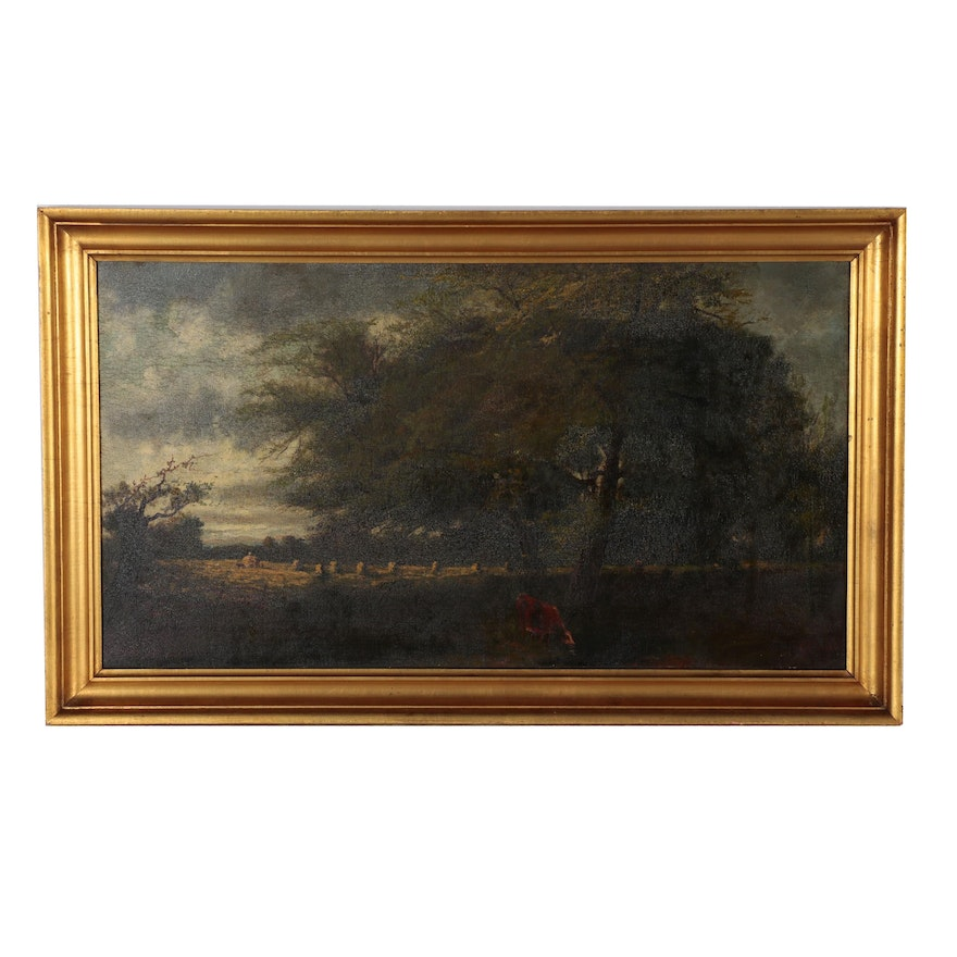 Benjamin Tryon Oil Painting of Pastoral Landscape, 19th Century