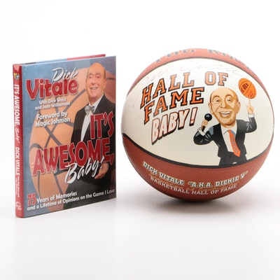 """Dick Vitale Signed """"Hall of Fame"""" Basketball and """"It's Awesome Baby"""" Book"""