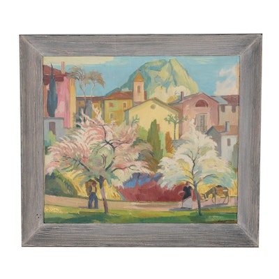 """Giovanni Müller Oil Painting """"Spring in Giona (Ticino)"""""""