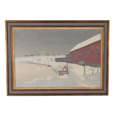 "Lee Court Oil Painting ""Across Forty Fences"", Mid 20th Century"