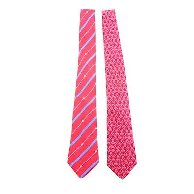 Hermès Fleur de Lys 7338 EA and Striped 7134 FA Printed Silk Neckties