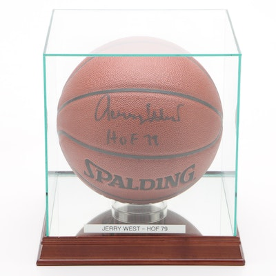 Jerry West Signed Spalding NBA Basketball with Case  COA